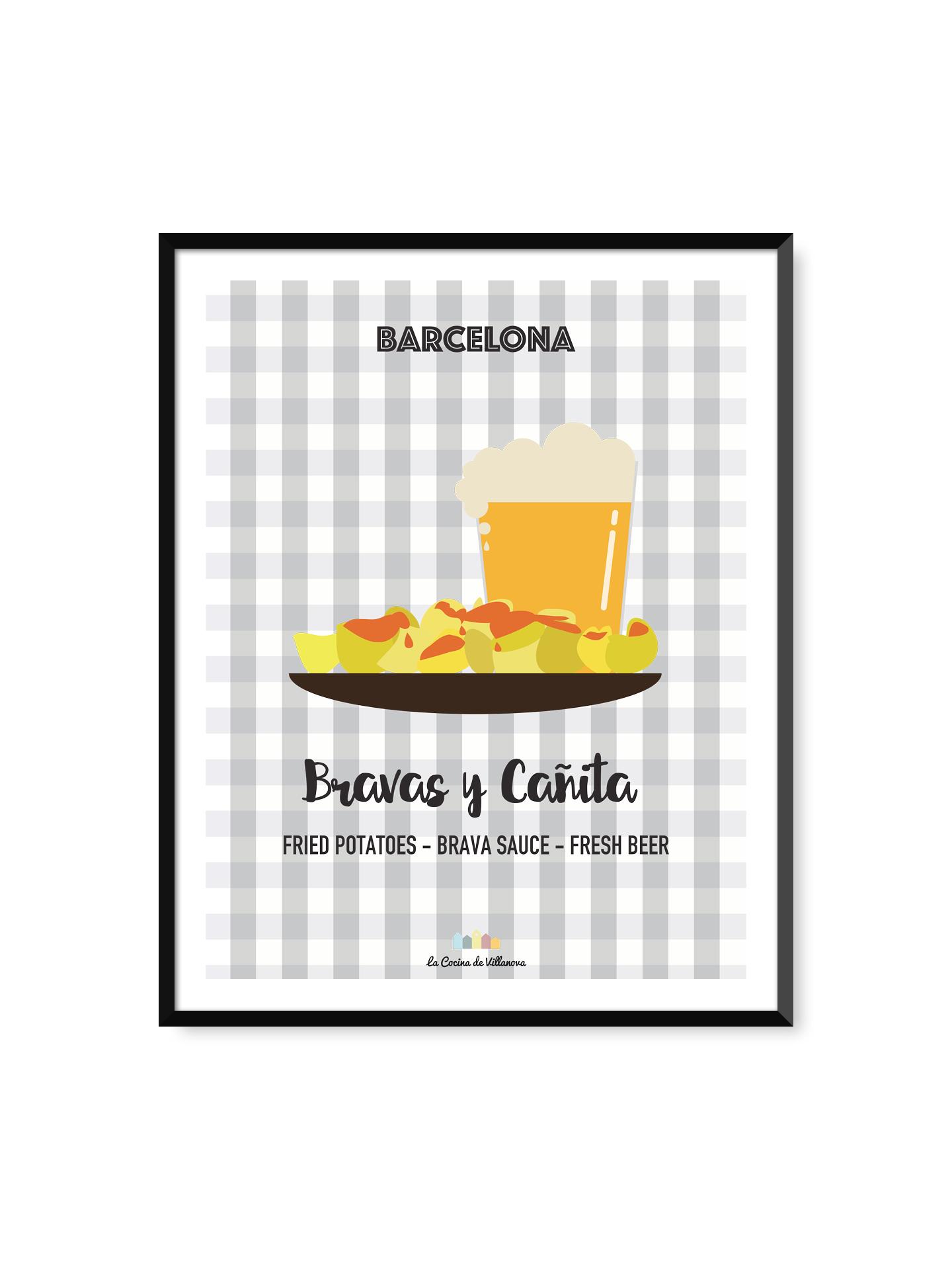 """Poster """"Bravas y Cañita"""" Barcelona Recipes – 30 x 40 cm"""