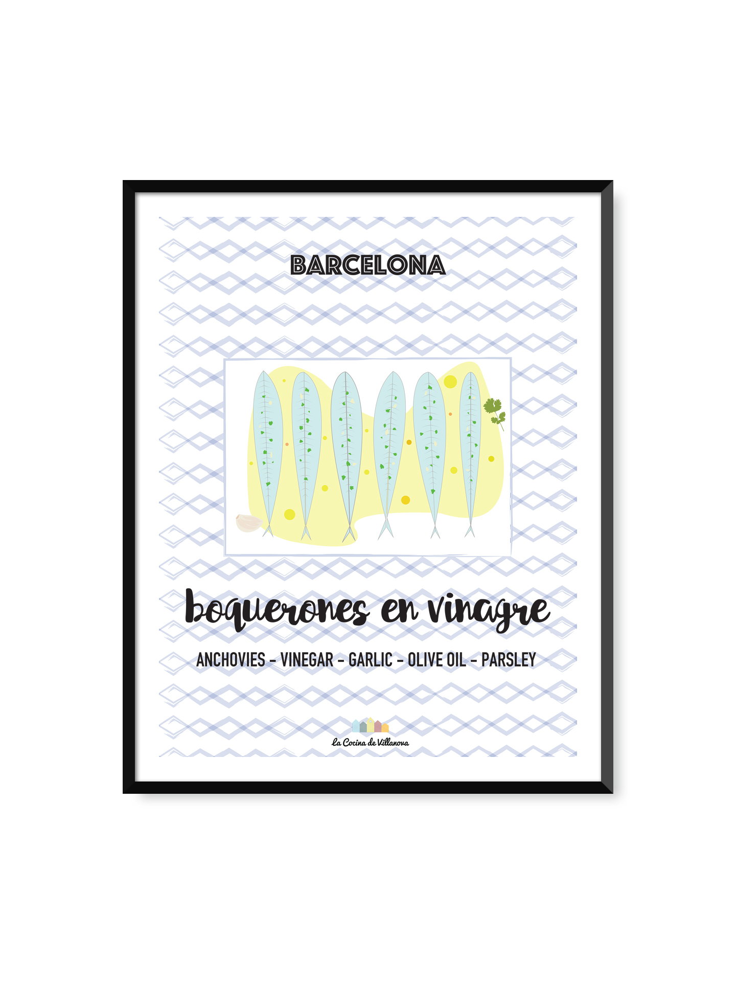 """Poster """"Boquerones en vinagre"""" Barcelona Recipes – 30 x 40 cm"""