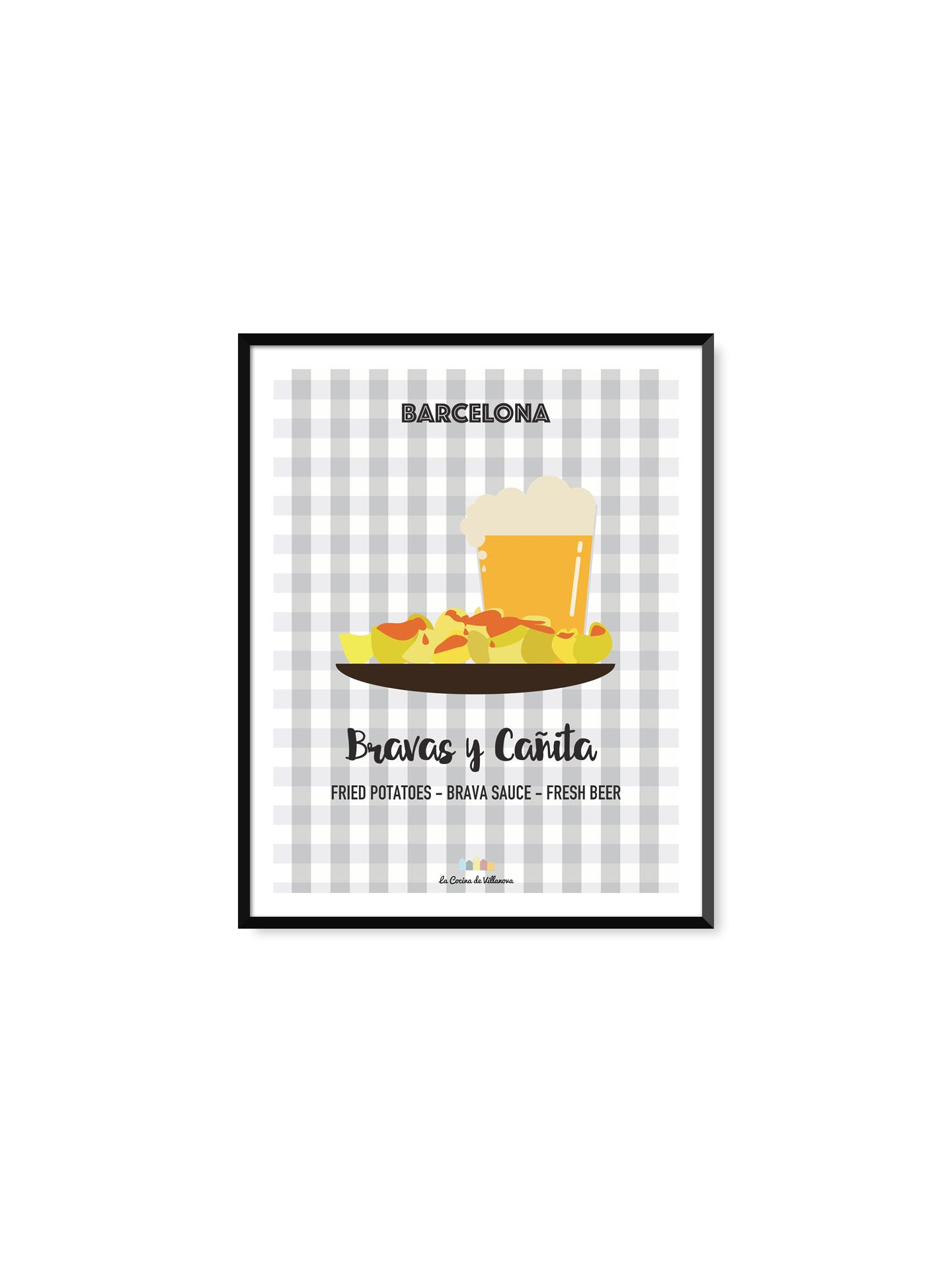 """Poster """"Bravas y Cañita"""" Barcelona Recipes – 21 x 29,7 cm"""