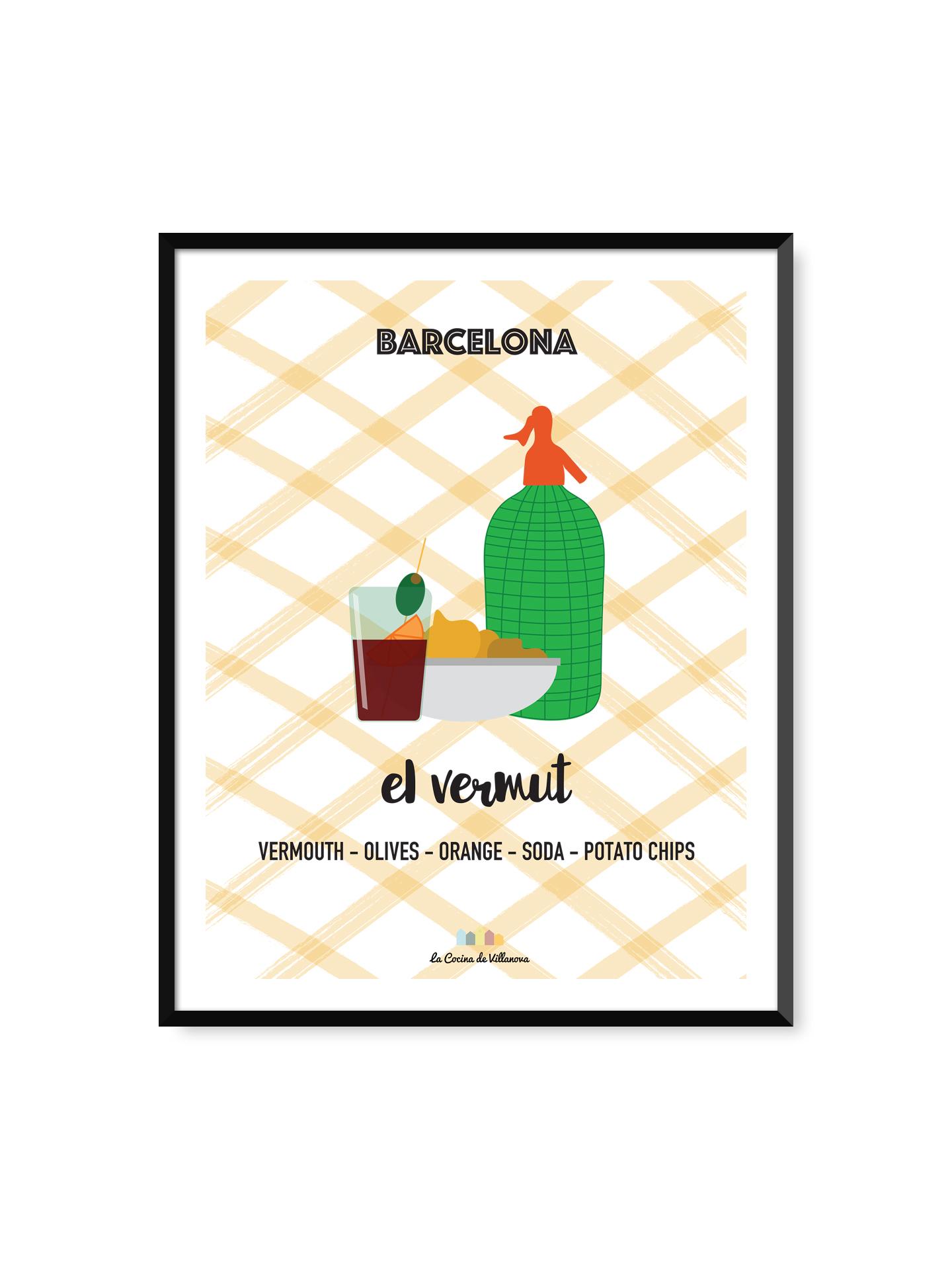 """Poster """"El vermut"""" Barcelona Recipes – 30 x 40 cm"""