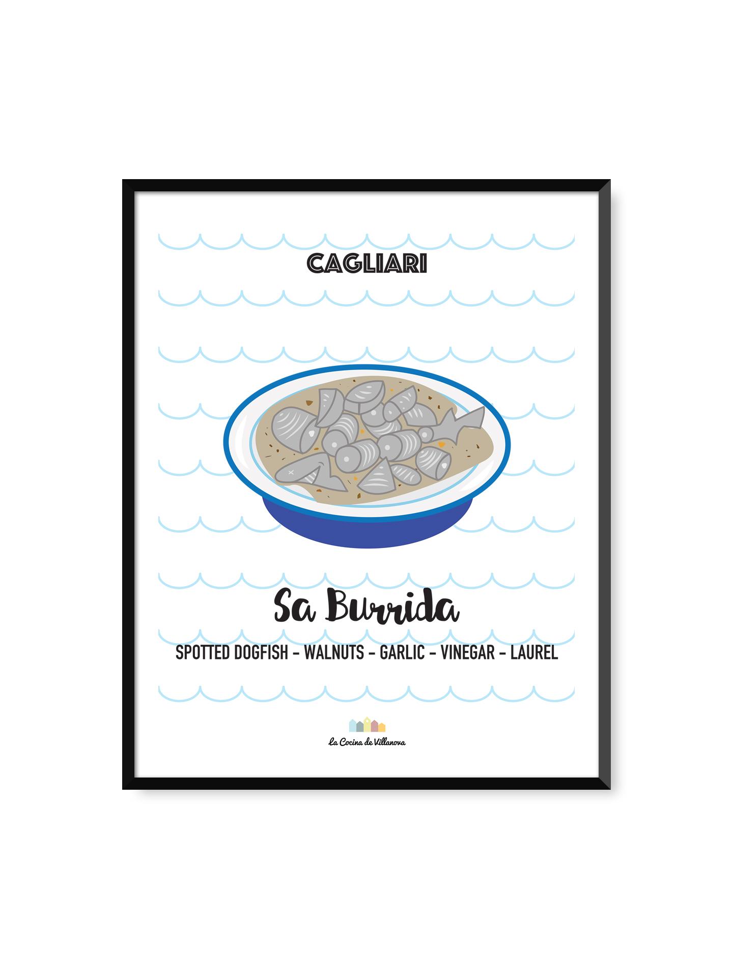 """Poster """"Sa burrida"""" Cagliari Recipes – 30 x 40 cm"""