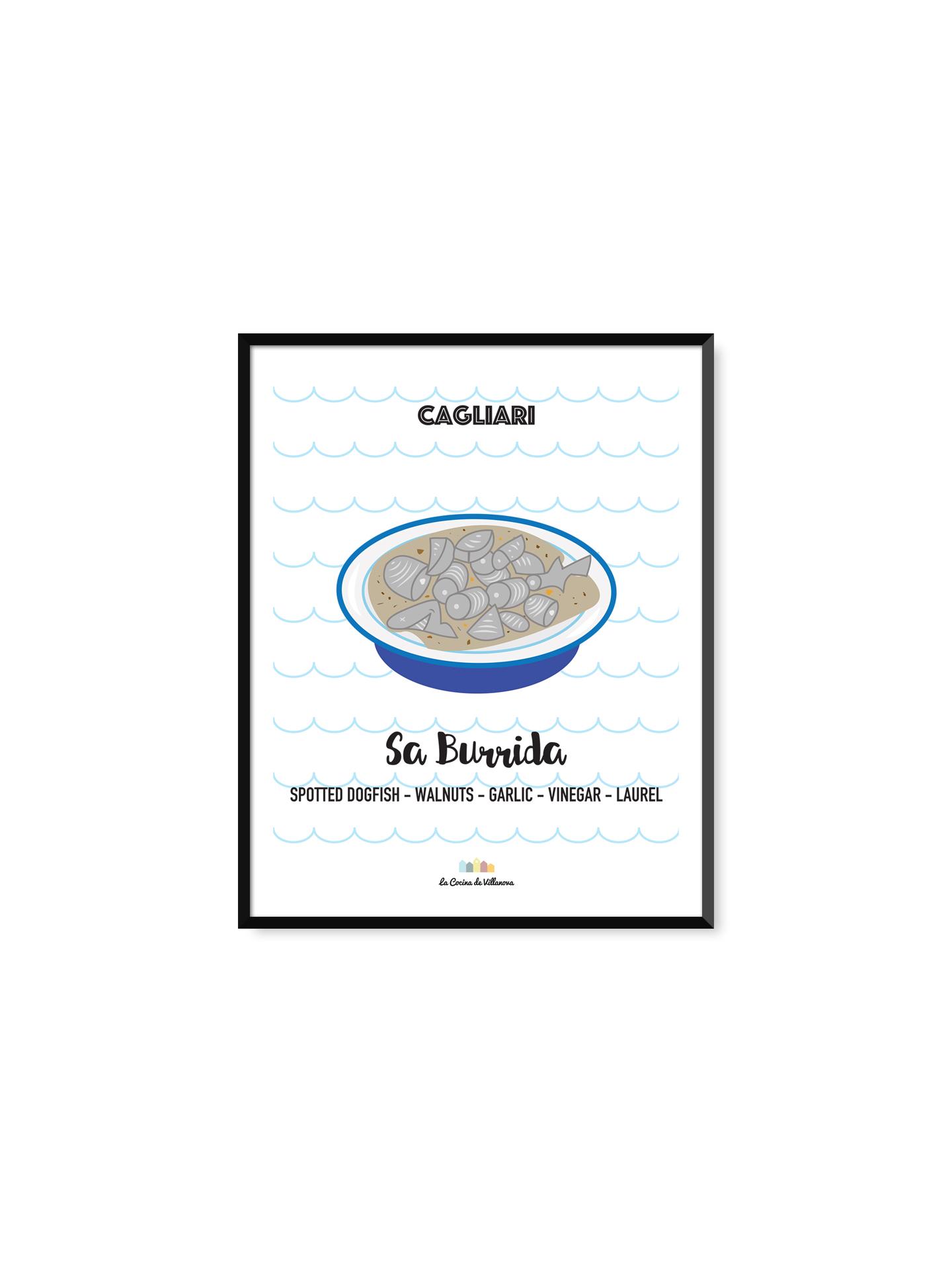 """Poster """"Sa burrida"""" Cagliari Recipes – 21 x 29,7 cm"""